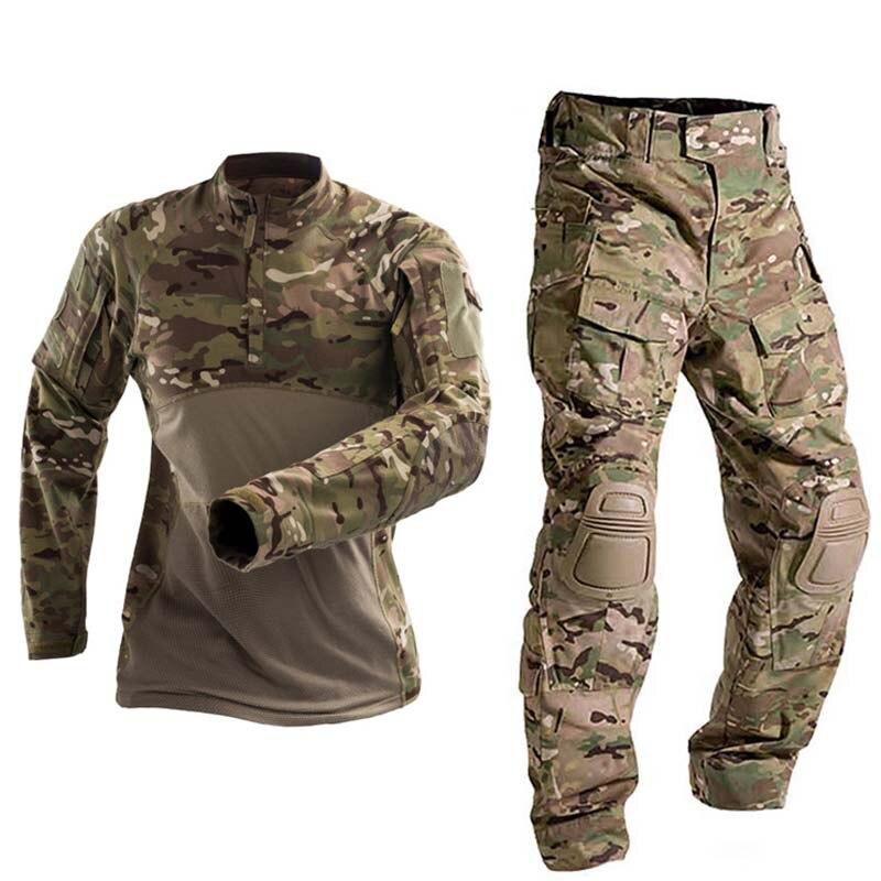 Uniforme militar de combate táctico, ropa del ejército estadounidense, Tops Tatico, Airsoft, multicámara, Camuflaje, caza, pantalones, coderas/rodilla