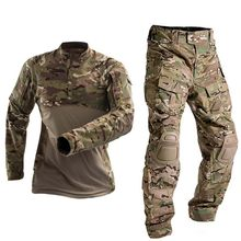 軍服タクティカルコンバット米軍服taticoトップスエアガンマルチカム迷彩狩猟fishingpants肘/膝