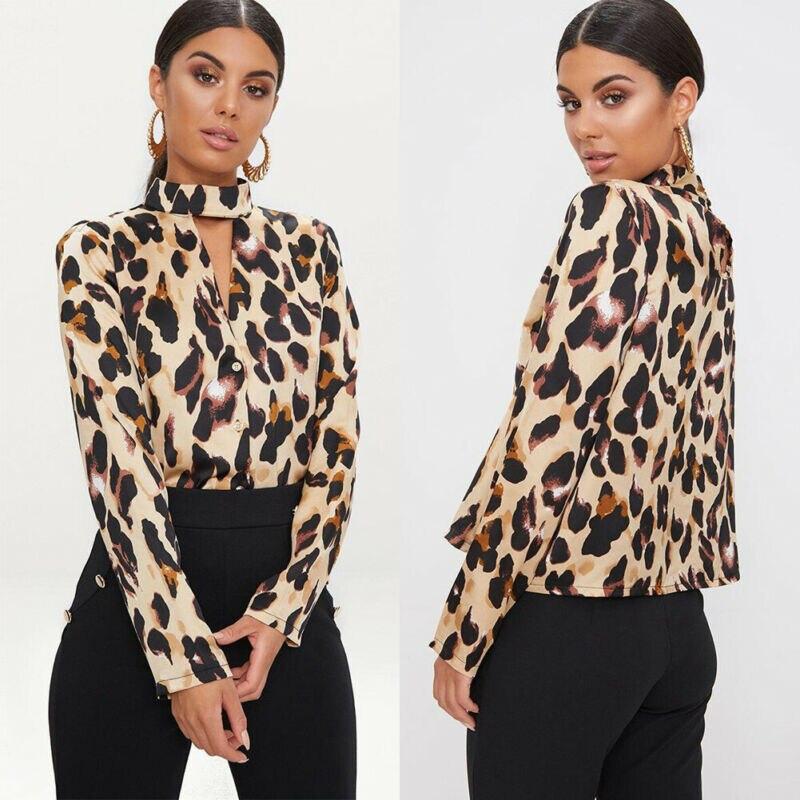 Meihuida Office Lady Elegant   Blouse   Women Turtleneck Choker Neck Long Sleeve Sheer Leopard Printing Chiffon   Blouse