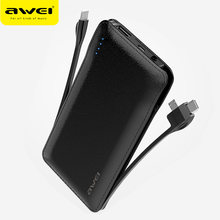 AWEI Power Bank Portable Powerbank 10000mAh Built in Lightning Type C Micro Cable Fast Charging for Huawei for iPhone Samsung