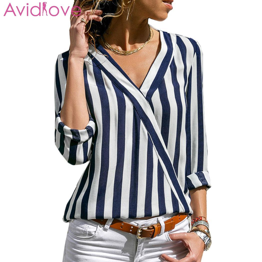 Women Casual Striped V Neck Long Sleeve Spring/Autumn Loose Black, Blue, Wine Red Regular Blouse Shirts Top