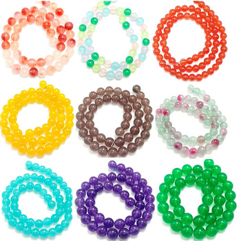 Natural Multicolor Chalcedony Stones Loose Beads Suitable for DIY Fashion Bracelet Necklace Jewelry Accessories 4/6/8/10/12mm image