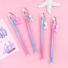 40 pcs/lot Kawaii Mermaid Shell Erasable PendantGel Pen Cute 0.5mm blue ink Signature Pens Office School Writing Supplies gift