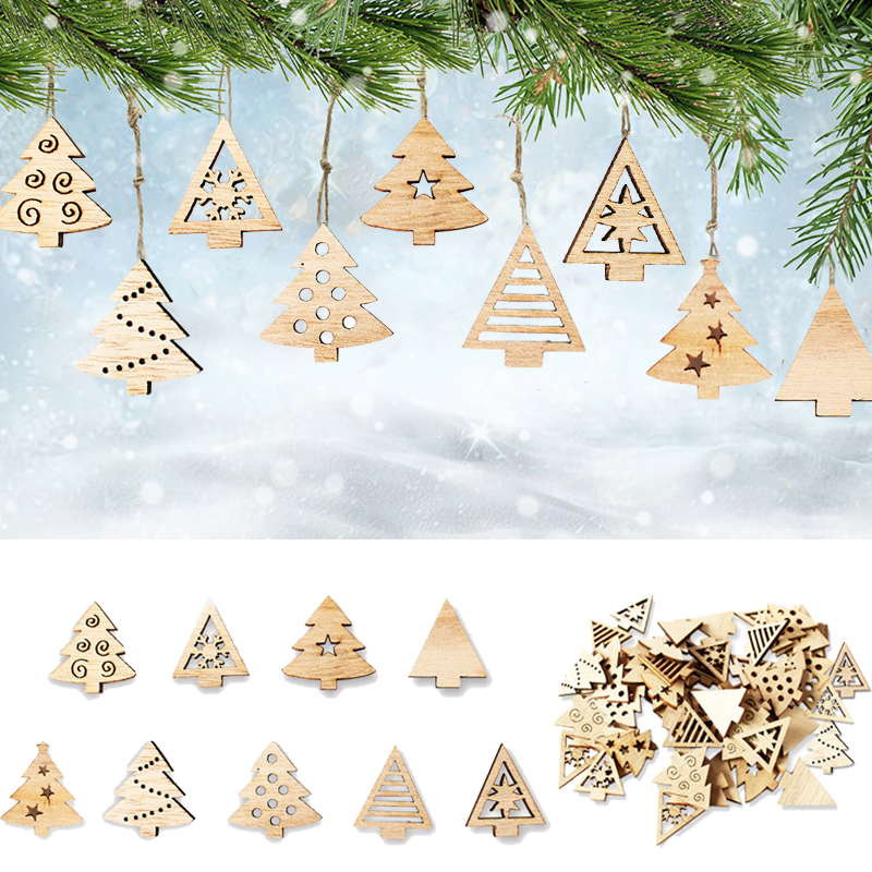 50pcs Wooden Snowflake Mini Tree Pendant 2020 Merry Christmas Eve Window Sticker Winter Snow Decorations For Home Happy New Year