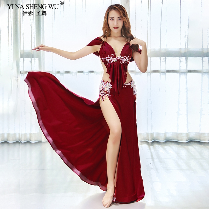 Belly Dance Performance Costume Set New Sexy Autumn Winter Glitter Diamond Bra Long Skirt Oriental India Dancing Stage Wear Suit
