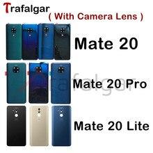 עבור Huawei Mate 20 חזרה סוללה כיסוי Mate20 פרו חזרה זכוכית לוח עבור Huawei Mate 20 Lite אחורי דלת דיור מקרה + מצלמה עדשה