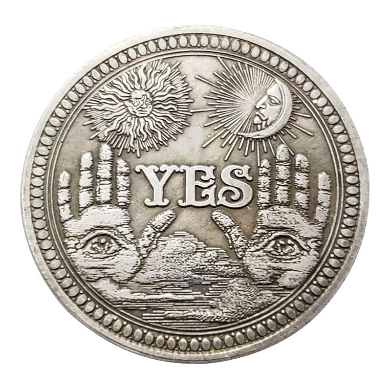 YES NO Letter Ornaments Souvenir Coin Yes or No Skull Commemorative Coin Challenge Collectible Coins Collection Art Craft
