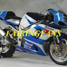 Обтекатель комплект для GSXR600 750 K1 01 02 03 GSXR 600 GSXR750 2001 2002 2003 ABS белого и синего цвета Обтекатели Кузов+ подарки SH14