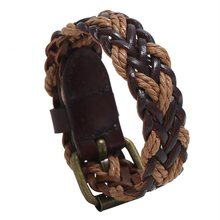 Braided leather bracelet for men Retractable  Bracelet bangle women adjustable punk vintage student Wristband