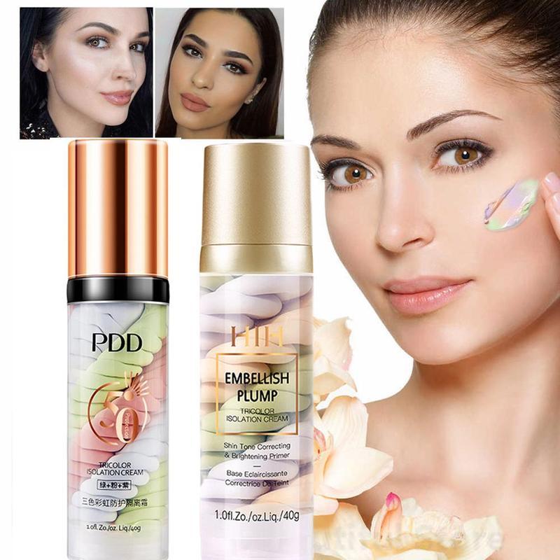 One Step Embellish Plump Tricolor Isolation Cream Makeup Base Pre-milk Face Concealer Cream Invisible Pore Brighten Face Makeup