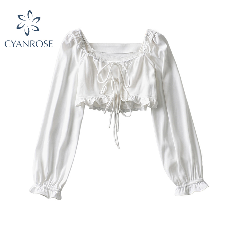 Модные летние рубашки с коротким рукавом для женщин 2021 в винтажном стиле; Элегантный квадратный вырез на каждый день с длинным рукавом Блуз...