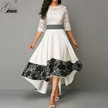 골드 손 가을 여성 드레스 우아한 섹시 할로우 화이트 레이스 긴 파티 드레스 캐주얼 플러스 크기 슬림 볼 가운 맥시 드레스