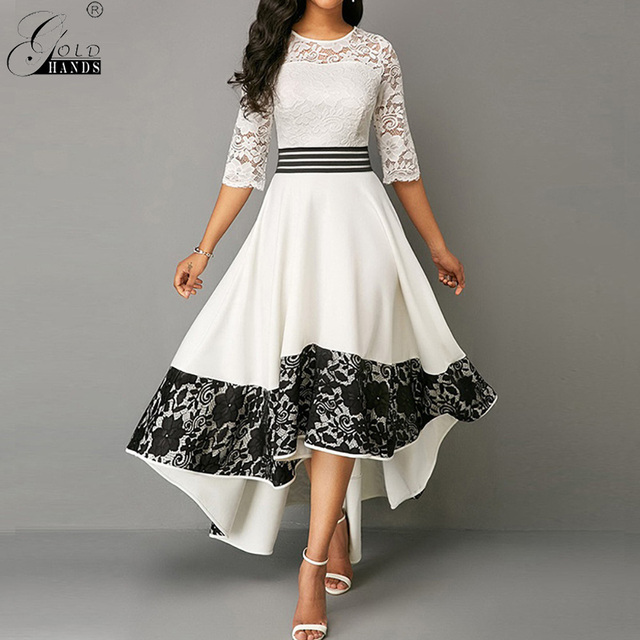 Gold Hands Autumn Women Dress  Elegant Sexy Hollow Out White Lace Long Party Dress Casual Plus Size Slim Ball Gown Maxi Dresses