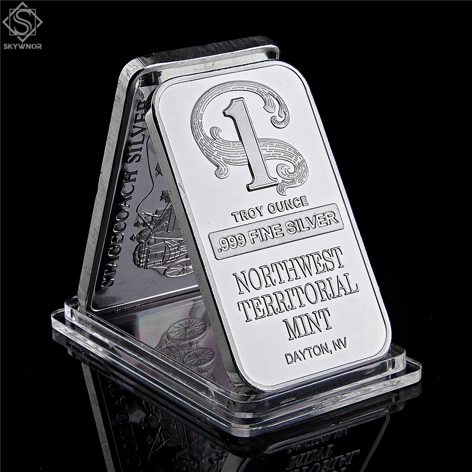 Northwest Territorial Mint Dayton NV 1 Troy Ounce .999 Fine Sliver Plated Bar Replica Bullion Bar Sliver Coin Collection|Non-currency Coins|   - AliExpress