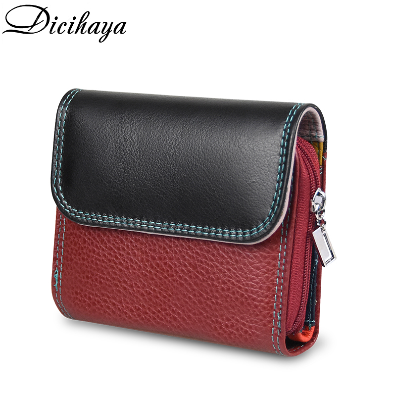 DICIHAYA Genuine Leather Women's Wallet Multicolor Female Small Portomonee Rfid Wallet Lady Coin Purses For Girls Money Bag