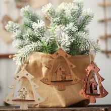 Christmas Wooden Tree Shape Hanging Hollow Elk House Pendant Craft Party Home Garden tree branches door window wall Decor