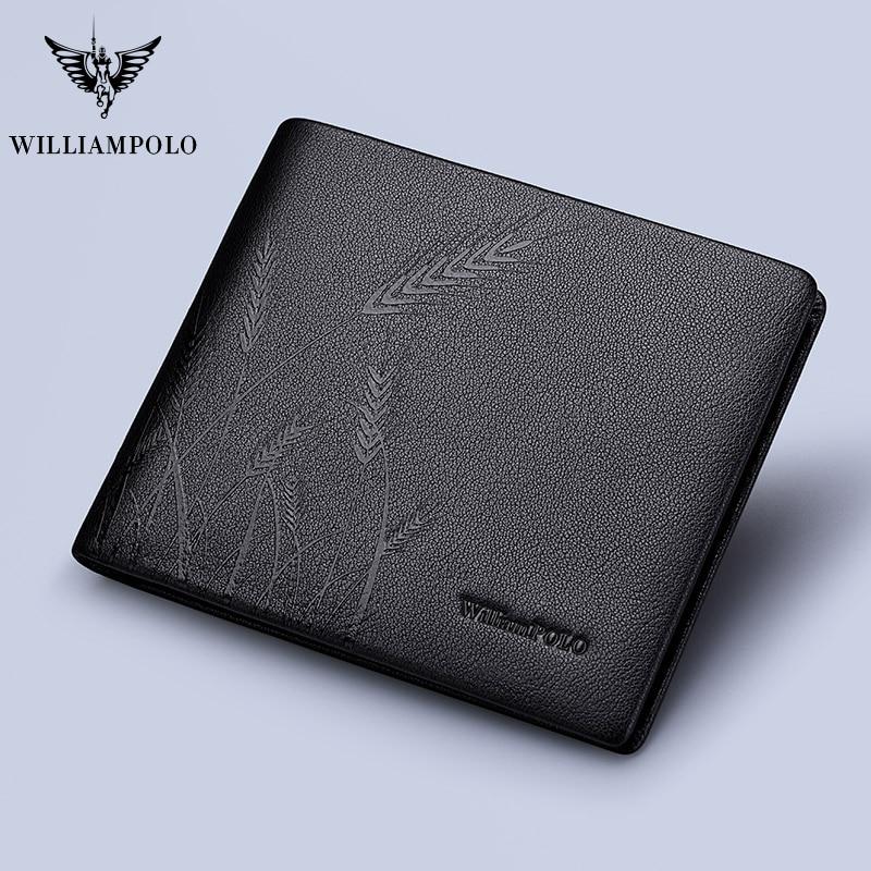 WILLIAMPOLO Men Wallets Designer Wallets Famous Brand Wallet 2020 Small Leather Men Bifold  Purse Original New Card Case Cowhide