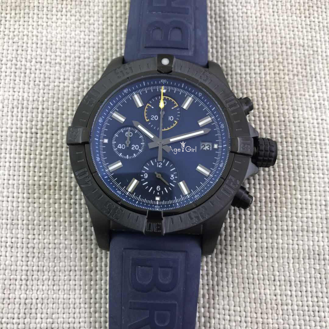 Luxury Brand New Quartz Chronograph Men Stopwatch Sapphire Japanese Rotatable Bezel Full Black Case Rubber Blue Sport Watches