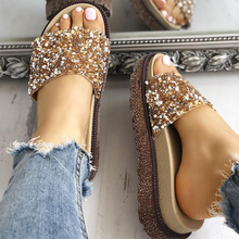 Summer Bling Slippers Flip Flops Women Open Toe Sandals Ladies Casual Slides Crystal Flat Platform Slippers Sandalias Mujer 2020 women beach slippers summer sandals wedges slip on slides platform peep toe flip flops ladies casual shoes sandalias