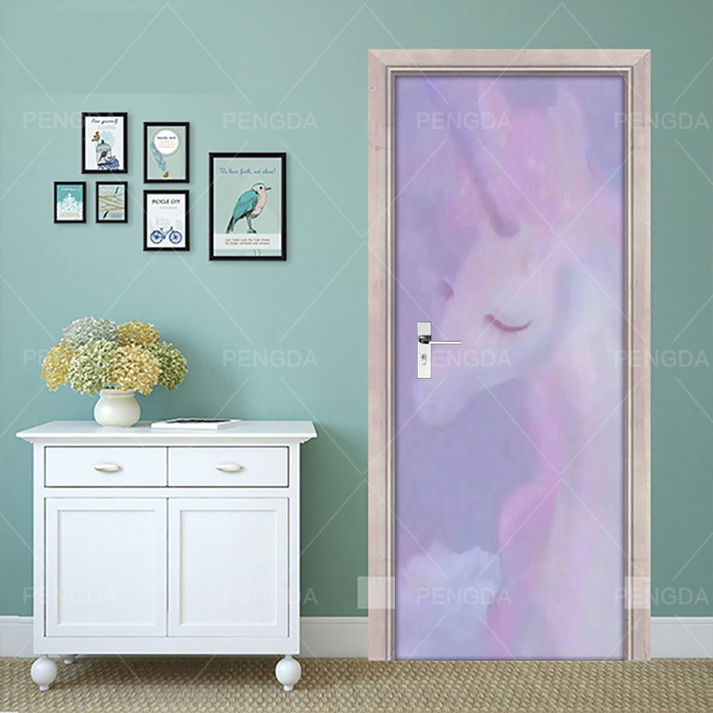 Creative PVC Wallpaper Door Sticker Unicorn Mural DIY Decals Self Adhesive Print For Renew Art Pictures Home Decor Girls Room