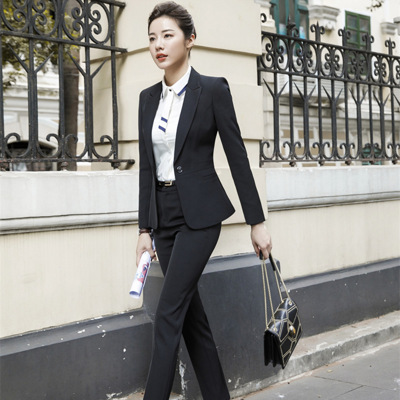 Female Elegant FormalI Style Business Ladies Uniform Pant Suits for Women Suits Office Sets 2 Pieces Trouser Plus Size Work Wear