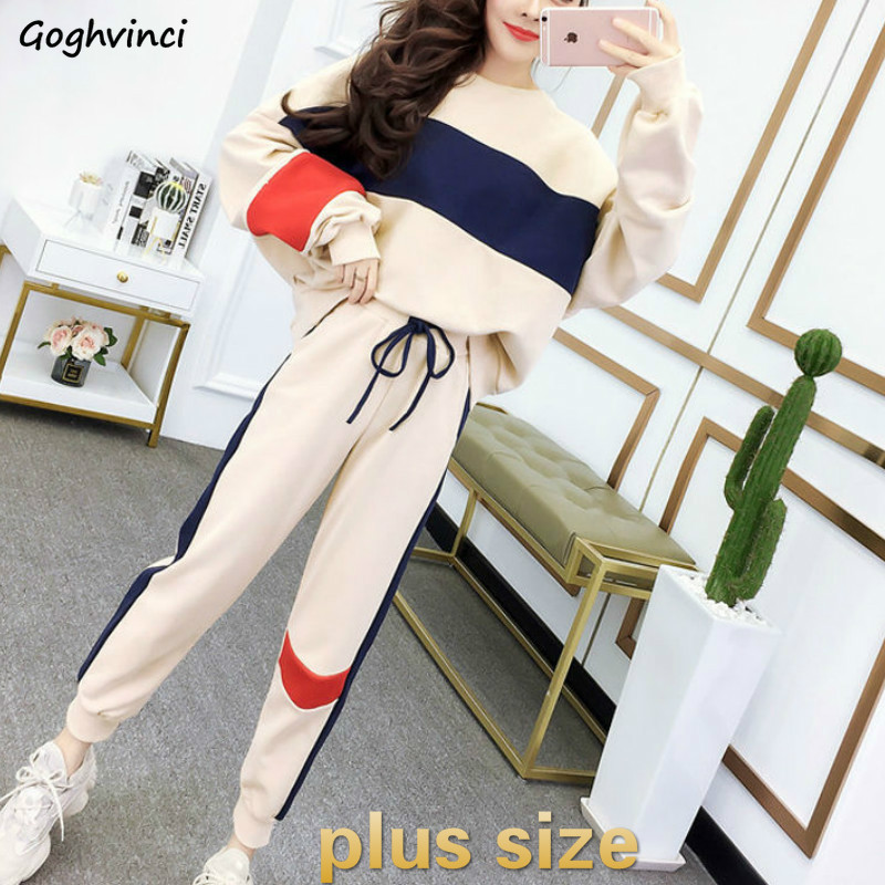 Sets Women Plus Size Striped Pullovers Chic Leisure Elastic Waist Loose Leisure Pants Two Piece Set Daily Students School Womens
