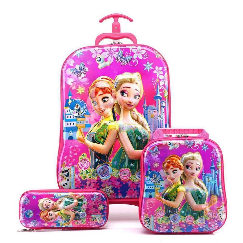 Maleta para niños para equipaje de viaje, maleta para niñas, mochila para viaje, mochila escolar con ruedas, bolsa con ruedas - 2