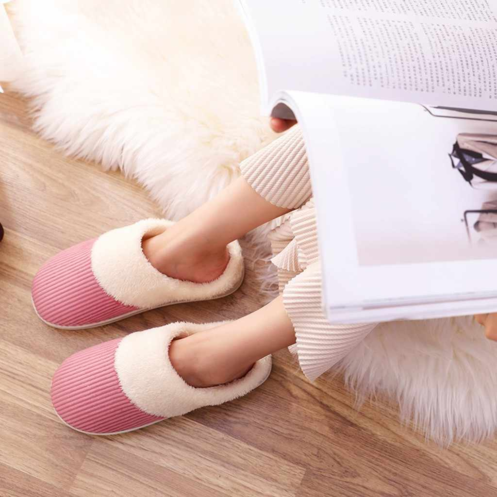 Warm Non-slip Floor Home Slippers Indoor Shoes Indoor Bedroom Lovers Couples Floor Shoes Couples Striped Flock zapatos de mujer