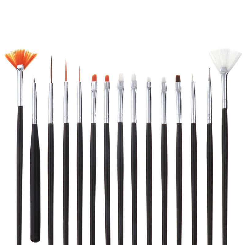 15 Pcs Decoratie Manicure Nail Borstels Nail Art Brush Pen Puntjes Schilderij Tekening Fan Lijn Builder Ontwerp Polish Gel Uv tips
