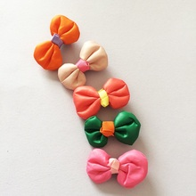 1 Pcs/lot Cute Colorful Leather Bowknot Hair Clip Candy Hairpin Plaid Barrettes Accessories Headwear