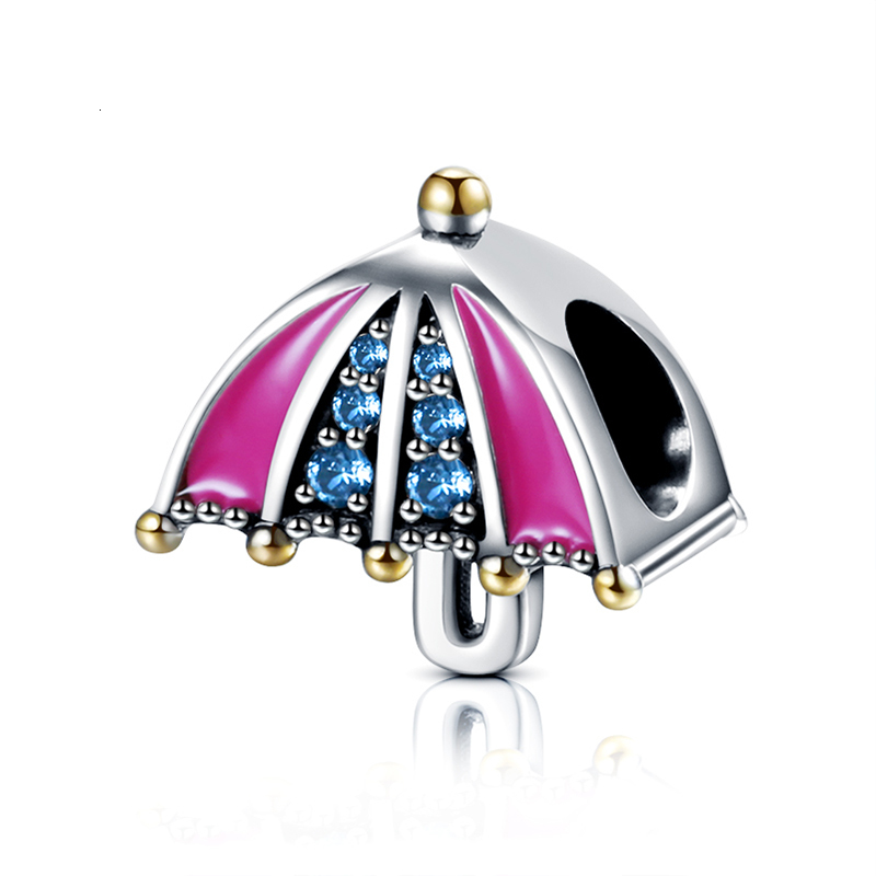 2019 New arrival Real 925 Sterling Silver pink Rainbow Umbrella with CZ Beads Charms Fit Bracelets for Women DIY jewelry in Beads from Jewelry Accessories