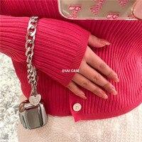 Placca di lusso argento amore cuore braccialetto catena auricolare senza fili copertura cuffia protettiva Stere Wireless per AirPods 2 pro