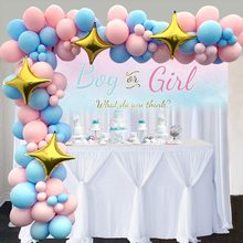 METABLE Balloon Garland Arch Kit 16Ft Long 104pcs Pink and Baby Blue  with 4 Gold Star Foil for Party Decorations
