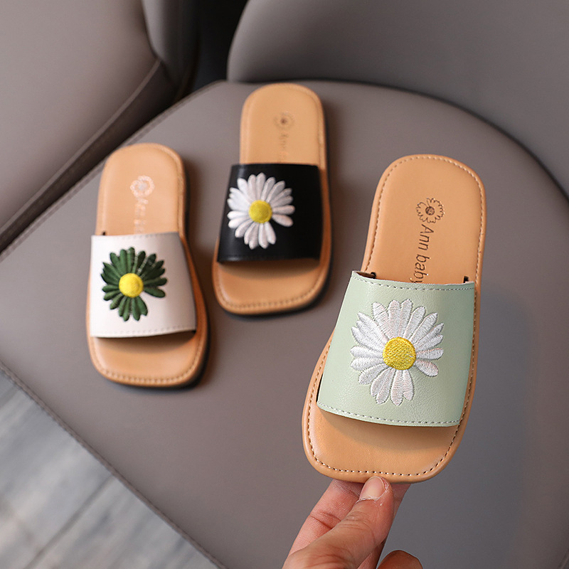 The Best Slippers Kids Flat Shoes Pu Leather Children Summer Small Daisy Sandals Flower Girls Sandals Indoor Slippers Pretty Fashion 2020 Sophisticated Technologies