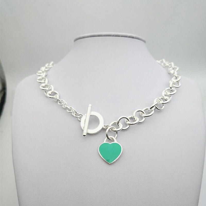 Argent Sterling 925 classique populaire original mode bleu rouge en forme de coeur charme dames collier bijoux cadeau de vacances