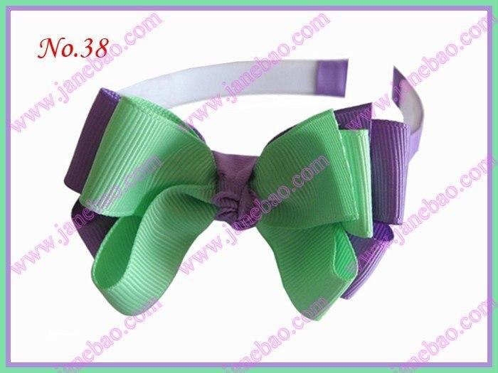 """300 шт эксклюзивная повязка на голову для девочек 3-3,"""" двухцветная двойная заколка для волос с бантом"""