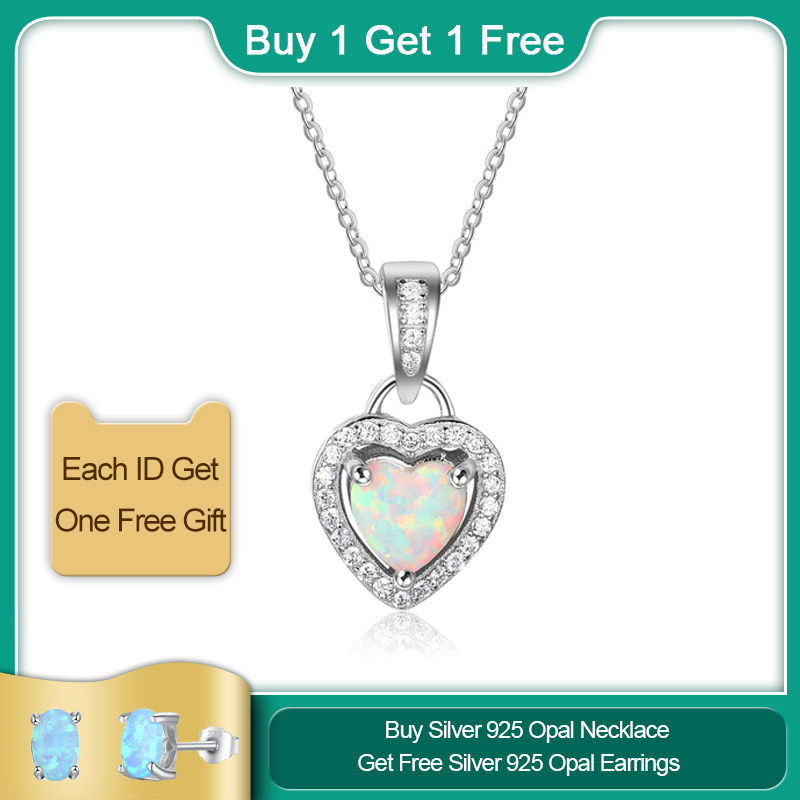 Created Blue Opal Heart Pendant with Cubic Zirconia in Sterling Silver