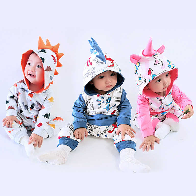 Autumn Winter Baby Clothes Newborn Rompers For Baby Girl Clothes Baby Boys Hooded Unicorn Overalls Infant Jumpsuit Kids Costume