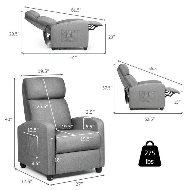 Massage Recliner Chair Single Sofa Fabric Padded Seat Theater Home w/ Footrest Gray 2