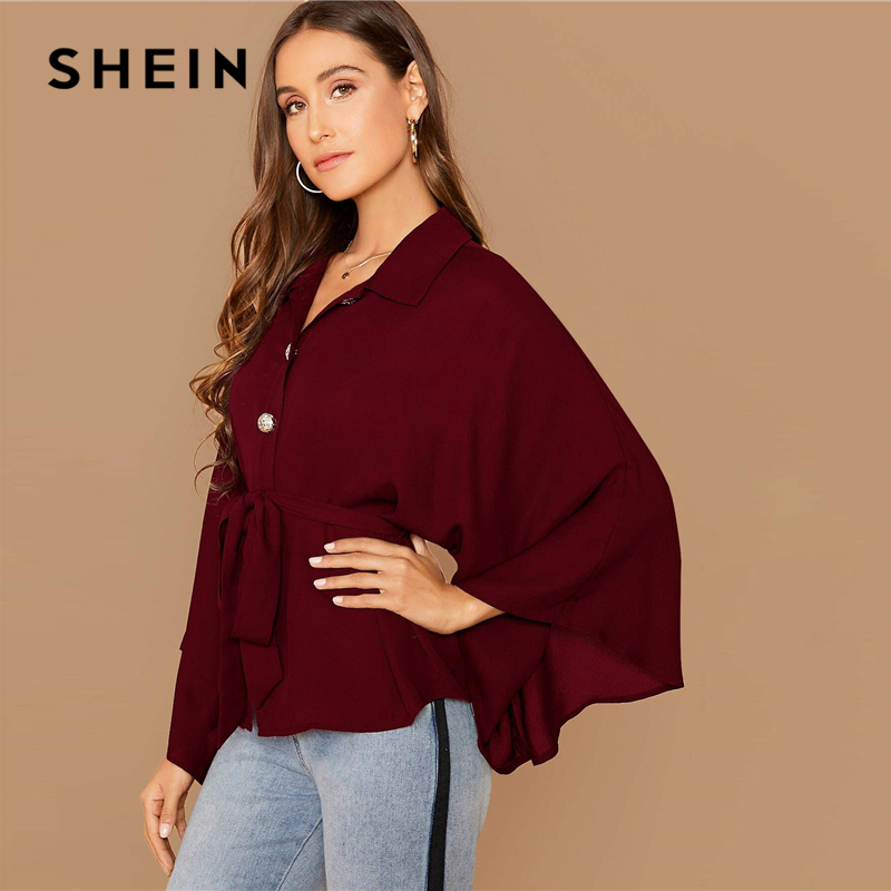 SHEIN Burgundy Kimono Sleeve Gold Button Belted Shirt Blouse Women Spring Autumn Solid Casual Oversized Tops and Blouses 2