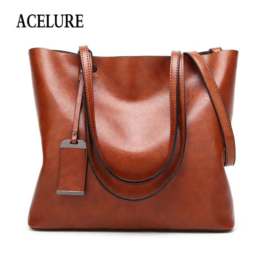 ACELURE Solid Color Shoulder Bags For Women Soft Pu Leather Casual Totes For Female All-Match Ladies High-Capacity Handbags