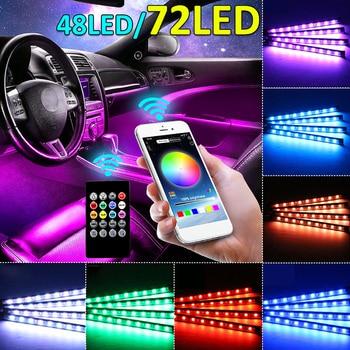 12/18LED 4Pcs CAR Interior Atmosphere Light LED RGB Strip Light Dash Floor LED Strip Decorative Light USB Sound Control Lamp Set