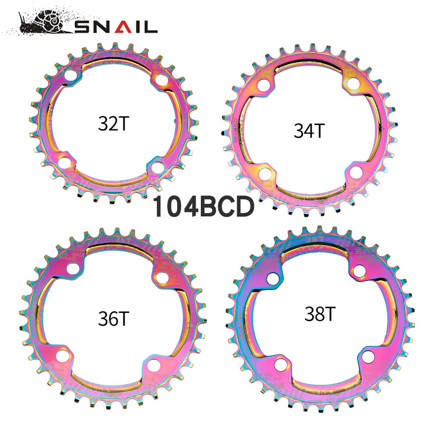 SNAIL Narrow Wide Chainrings 104BCD Chainwheels Mountain Bike Bicycle Crankset <font><b>32T</b></font> 34T 36T 38T Colorful Platter Chainwheel image
