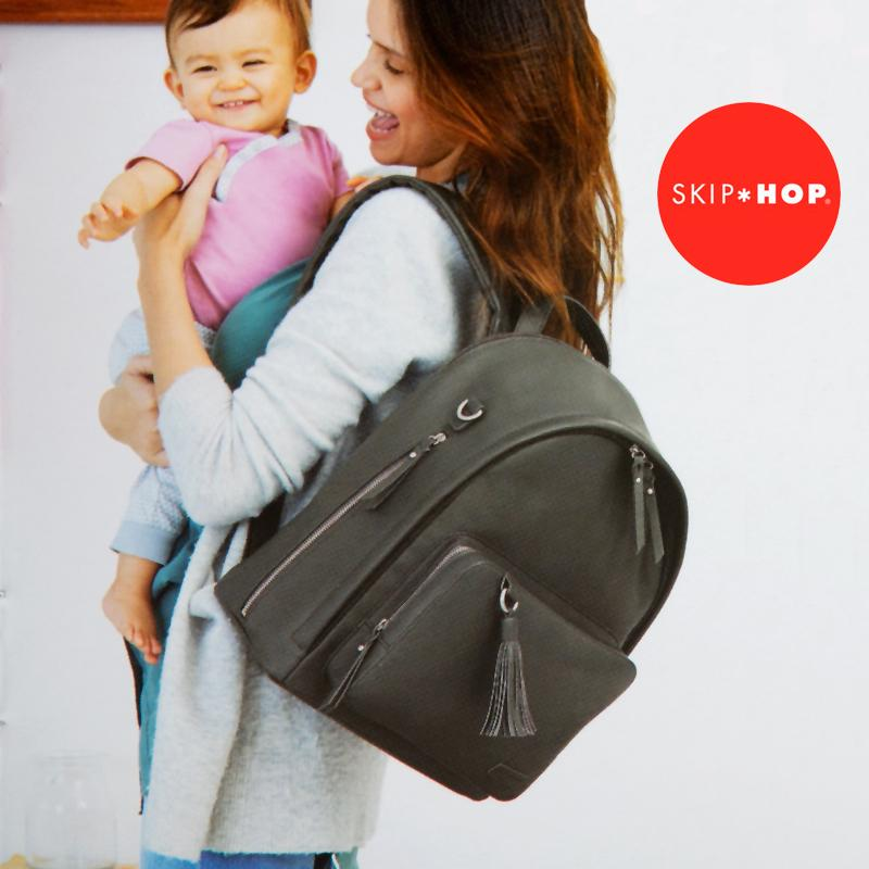 <font><b>Skip</b></font> <font><b>Hop</b></font> <font><b>Diaper</b></font> <font><b>Bag</b></font> Backpack Greenwich Multi-Function Baby Travel <font><b>Bag</b></font> With Changing Pad And Stroller Straps Vegan Leather image