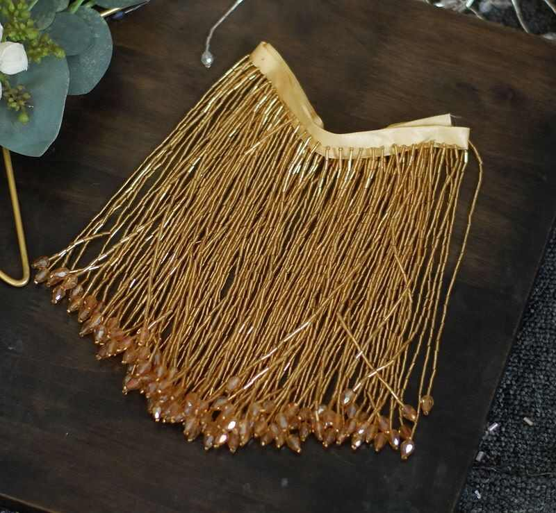 beading fringe for dance costume haute couture dress trimming gold bead fringe tassel trim with teardrop sequins
