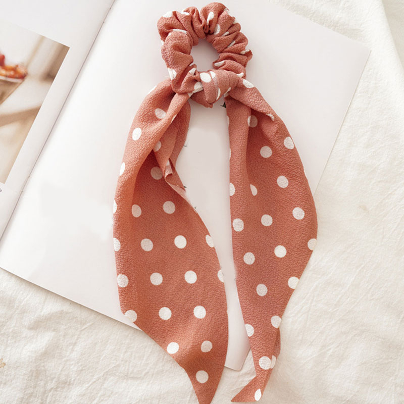 Femmes banderoles chouchous à pois imprimé Floral élastique noeud cheveux corde fille cheveux cravates coréen doux cheveux accessoires chapeaux 39