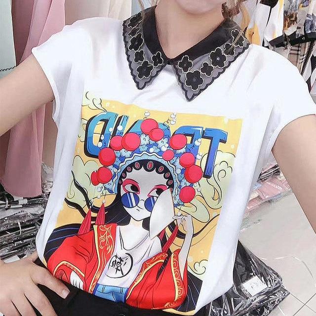 Women Spring Summer Style Chiffon Blouses Shirts Lady Casual Short Sleeve Peter Pan Collar Printed Chiffon Blusas Tops DD8837 3