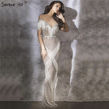Silber Meerjungfrau Ärmellose Luxus Abendkleider 2020 Dubai Perlen Quaste Sparkle Formale Kleid Design Ruhigen Hill LA6543