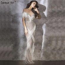 Vestidos de Noche plateados de sirena, sin mangas, de lujo, Dubai, con borlas y perlas, brillante, diseño Formal de vestir, Hill LA6543 Serene, 2020