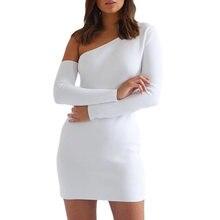 Женское летнее платье с длинным рукавом модное однотонное облегающее